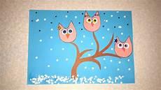 winterbilder zum basteln die eulen winter basteln mit papier mit schablone zum