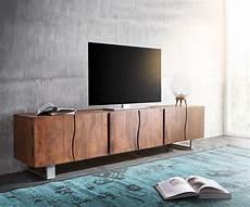 tv lowboard massiv fernsehtisch live edge akazie braun 220 cm 3 t 252 ren