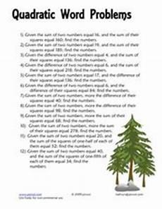 quadratic word problem worksheets 11121 quadratic word problems 8th 10th grade worksheet lesson planet