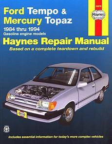 free auto repair manuals 1990 mercury topaz transmission control ford tempo mercury topaz repair manual 1984 1994 haynes