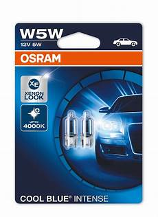 2 x osram w5w 501 t10 cool blue sidelight