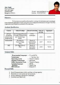 curriculum vitae for teaching in india