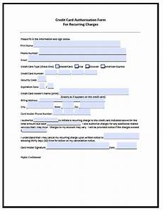 download recurring credit card authorization form pdf word wikidownload