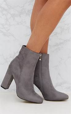grey faux suede ankle boots prettylittlething ie