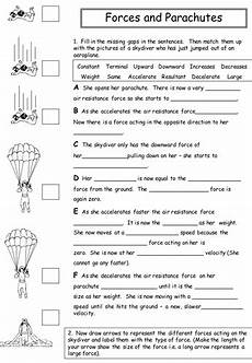 physical science forces worksheet 13085 the effects of air resistance on a skydiver teaching resources