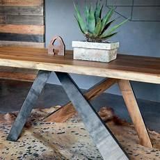 Table Design Rectangulaire En Bois Massif Et M 233 Tal