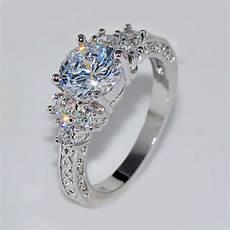 5 80 ct lab diamond white sapphire wedding ring 10kt white