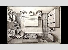 Drawing A Bedroom in one point perspective   Bird's Eye