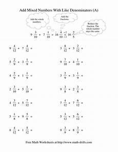 fraction worksheets like denominators 4000 adding mixed fractions like denominators reducing no renaming a