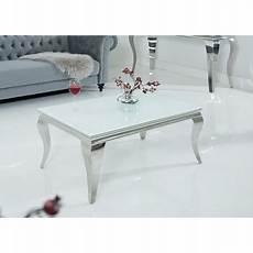 Table Basse Baroque Verre Opale Blanc Et Pied En Acier