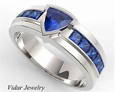 men s wedding band trillion cut blue sapphire unique wedding band vidar jewelry unique