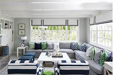 Gray And Blue Living Room With Green Accents Features A