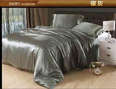 silver grey silk bedding satin sheets queen full quilt doona duvet cover bed linen super