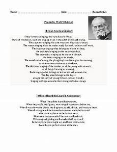 poetry analysis worksheet with answers 25533 walt whitman poetry romanticism review worksheet and detailed answer key