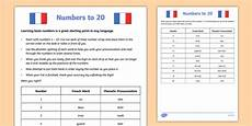 numbers to 20 french worksheet language resource twinkl