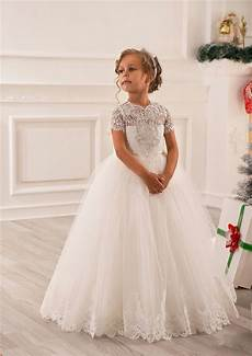 romantic ivory crystal lace flower girl dress for weddings organza ball gown girl party