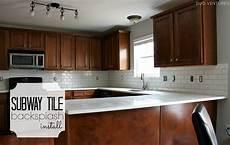 How To Install Subway Tile Backsplash Kitchen Duo Ventures Kitchen Makeover Subway Tile Backsplash