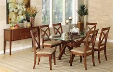 Best Dining Tables by Brown Cherry Finish Glass Top Dining Table W Optional Items