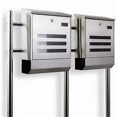 standbriefkasten mit zeitungsfach postkasten edelstahl design doppelstandbriefkasten