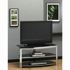 tv racks tv stand chrome metal black tempered glass walmart com