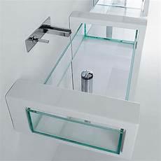 mensole di vetro per bagno lavabo in vetro 120x35 5 d appoggio o sospeso con mensole