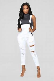 all or nothing denim overalls white