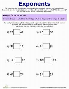 exponent practice worksheet education com