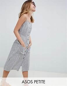asos design stripe button through linen midi sundress asos