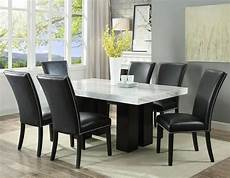 camila rectangular marble 7 piece dining with black chairs by steve silver