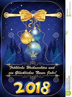 german greeting card merry christmas and happy new year for the new year 2018 stock