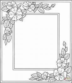 photo frame with flowers coloring page free printable