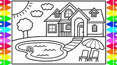 how to draw a house with a pool for house with