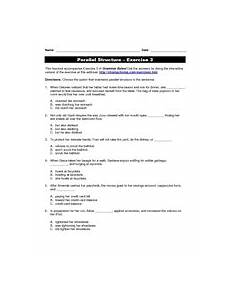parallel structure exercise 3 4th 12th grade worksheet lesson planet