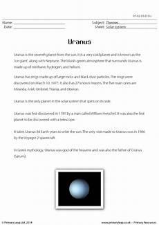 uranus planet worksheet uranus reading comprehension