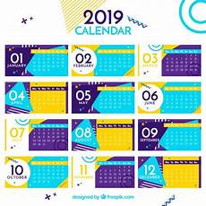 flat colourful calendar for the year 2019 vector free download