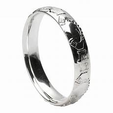 claddagh court shape white gold wedding ring claddagh