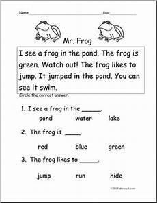 k1 worksheets 19345 easy reading comprehension mr frog k 1 abcteach
