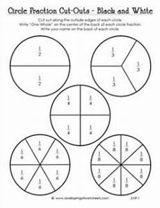 circle fraction cut outs in black and white third grade fractions