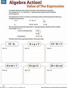 5th grade algebra variables worksheets 8626 find the value of the expression mathematics math expressions algebra algebraic expressions