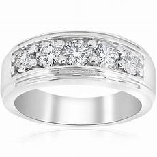 mens white gold wedding rings with diamonds channel set men s wedding ring band si g 1 ct diamond 14k white yellow rose gold ebay