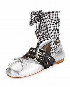 Miu Miu Metallic Belted Ankle Wrap Ballet Flat Argento