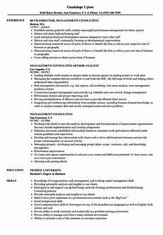 management consulting resume sles velvet