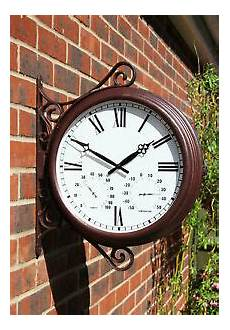outdoor double sided station bracket clock thermometer