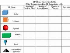 3d shapes worksheet early years 1107 primary maths properties of 3d shapes worksheet by derrybeg73 teaching resources