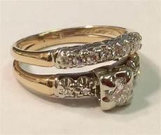 vintage 1940 s 14 k gold two tone diamond wedding ring