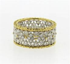 buccellati 18k gold openwork wide wedding band diamond ring ebay