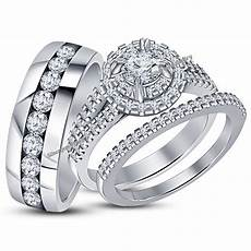 diamond wedding white gold over trio his bridal band