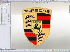 logo porsche stl step iges solidworks 3d cad model