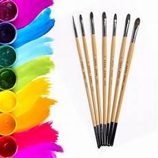 eval 7pcs artist squirrel hair watercolor paint brush set
