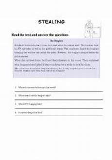 english worksheets stealing